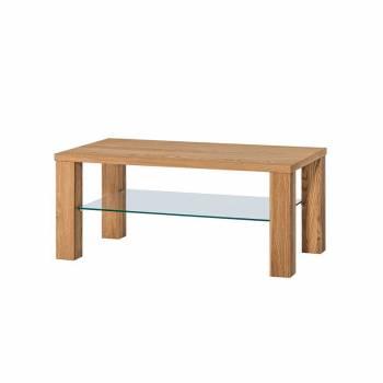 Table basse avec étagère en verre