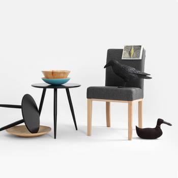 Lot de 2 chaises recouvertes de tissu � motif chevron gris