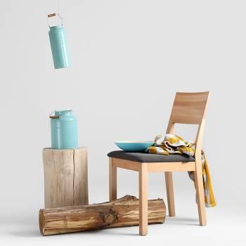 Lot de 2 chaises bois naturel � l'assise recouvertes de tissu