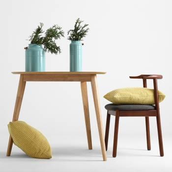 Lot de 2 chaises en bois naturel � l'assise recouverte de tissu couleur Carbone
