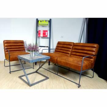 Canapé 2 places, de style industriel et vintage